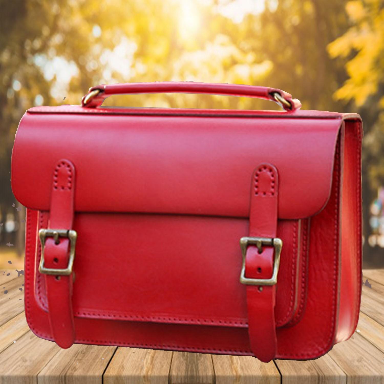 Handmade Womens Orange Leather Satchel Bag